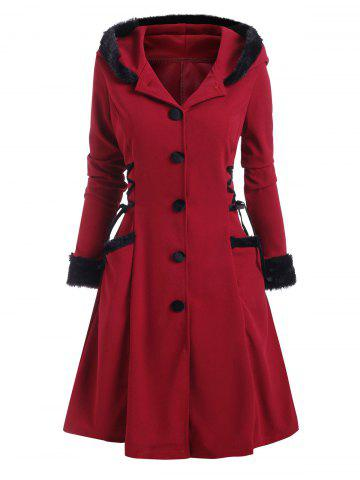 Faux Fur Insert Hooded Lace Up Longline Coat - DEEP RED - XXL