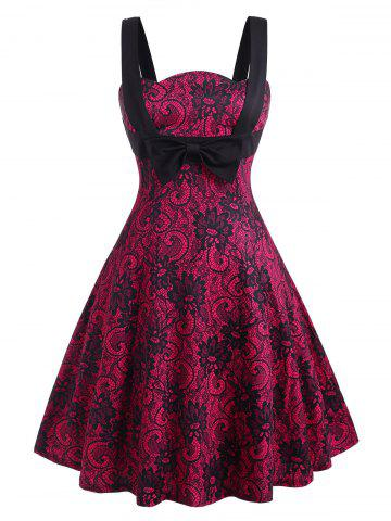 Straps Printed Bowknot Plus Size Vintage Dress - RED - 1X