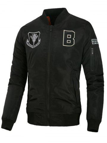 Embroidered Letter Applique Zip Up Padded Jacket - BLACK - XS