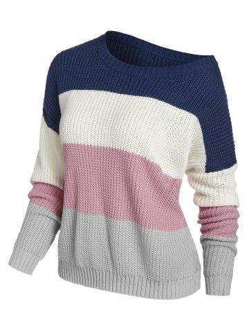 Plus Size Color Blocking Drop Shoulder Skew Collar Sweater