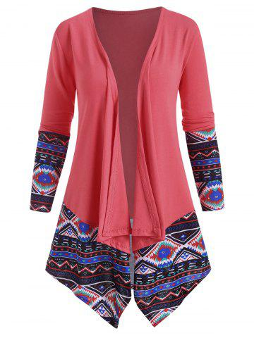 Draped Front Ethnic Printed Jacket