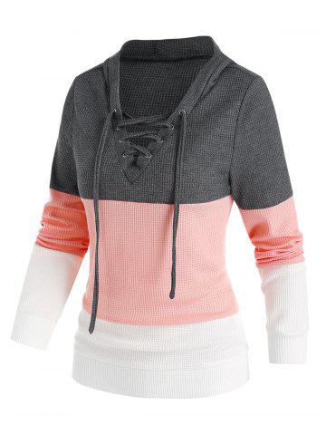 Lace Up Colorblock Casual Hoodie - MULTI-A - L