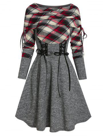 Plaid Print Lace-up Fold Over Sweater Dress