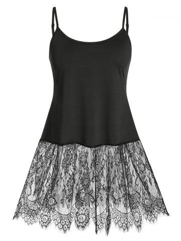 Plus Size Lace Eyelash See Thru Sexy Skirted Cami Top