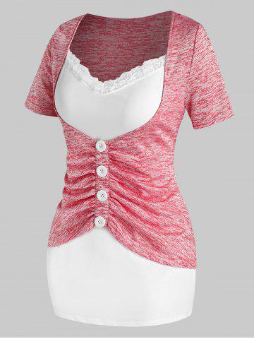Plus Size Ruched Mock Button Twofer T Shirt - BLUSH RED - 5X