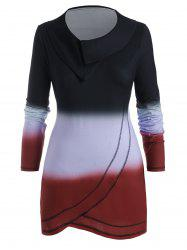Cowl Neck Ombre Contrast Stitching Plus Size Top -