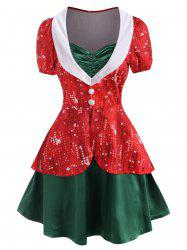 Christmas 3D Rhinestone Print Ruched Button Embellished Twofer Dress -