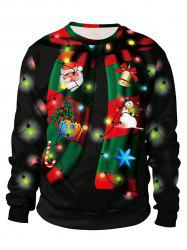 Sweat-shirt Merry Christmas Lumineuse Imprimé - Noir XL