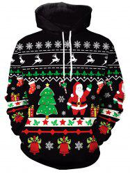Front Pocket Christmas Pattern Hoodie -