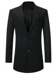 Lapel Button Up Faux Pocket Wool Blend Coat -