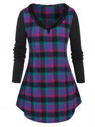 Plus Size Lace Trim Plaid T Shirt -