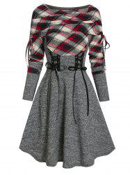 Plaid Print Lace-up Fold Over Sweater Dress -