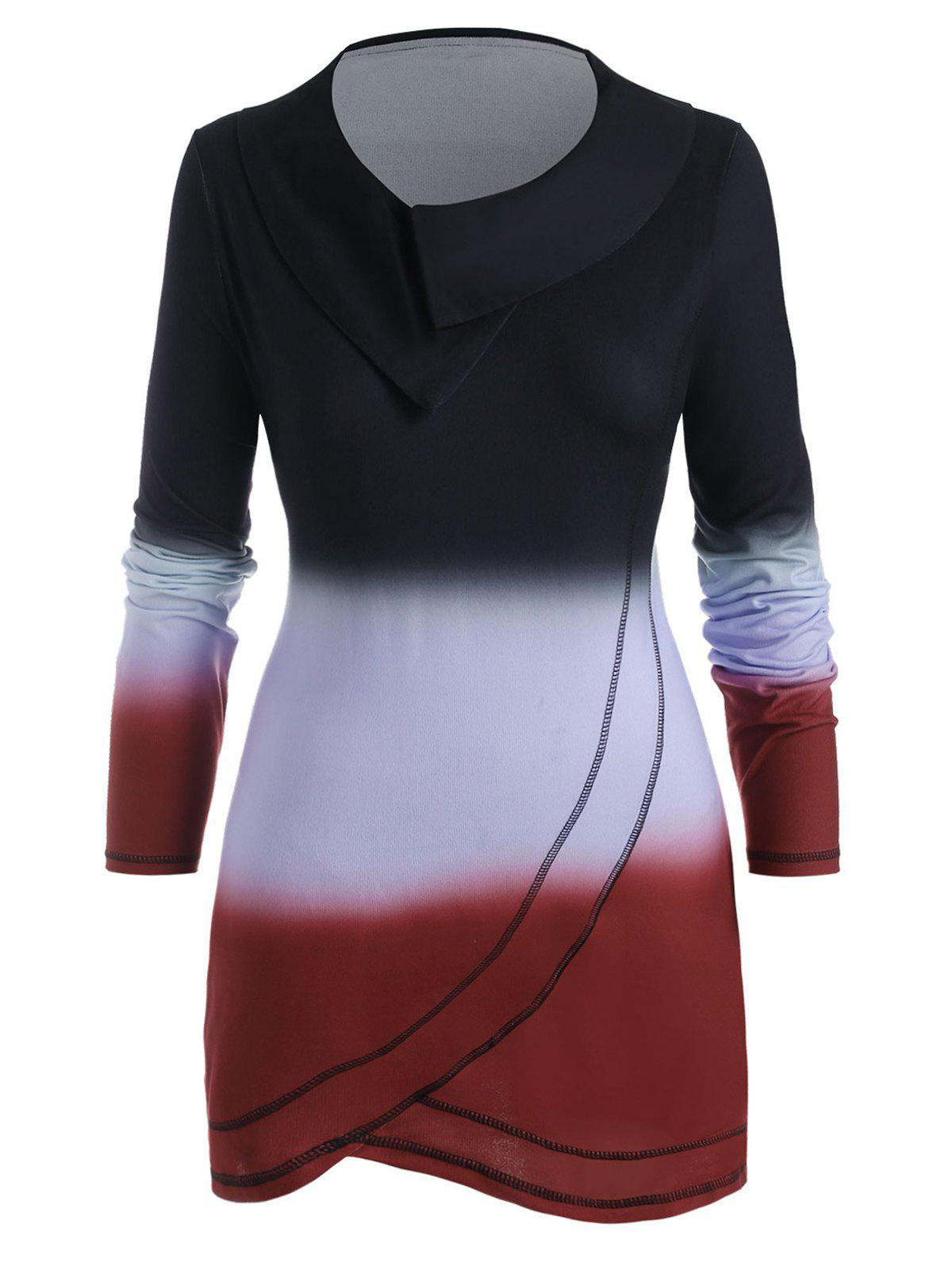Online Cowl Neck Ombre Contrast Stitching Plus Size Top
