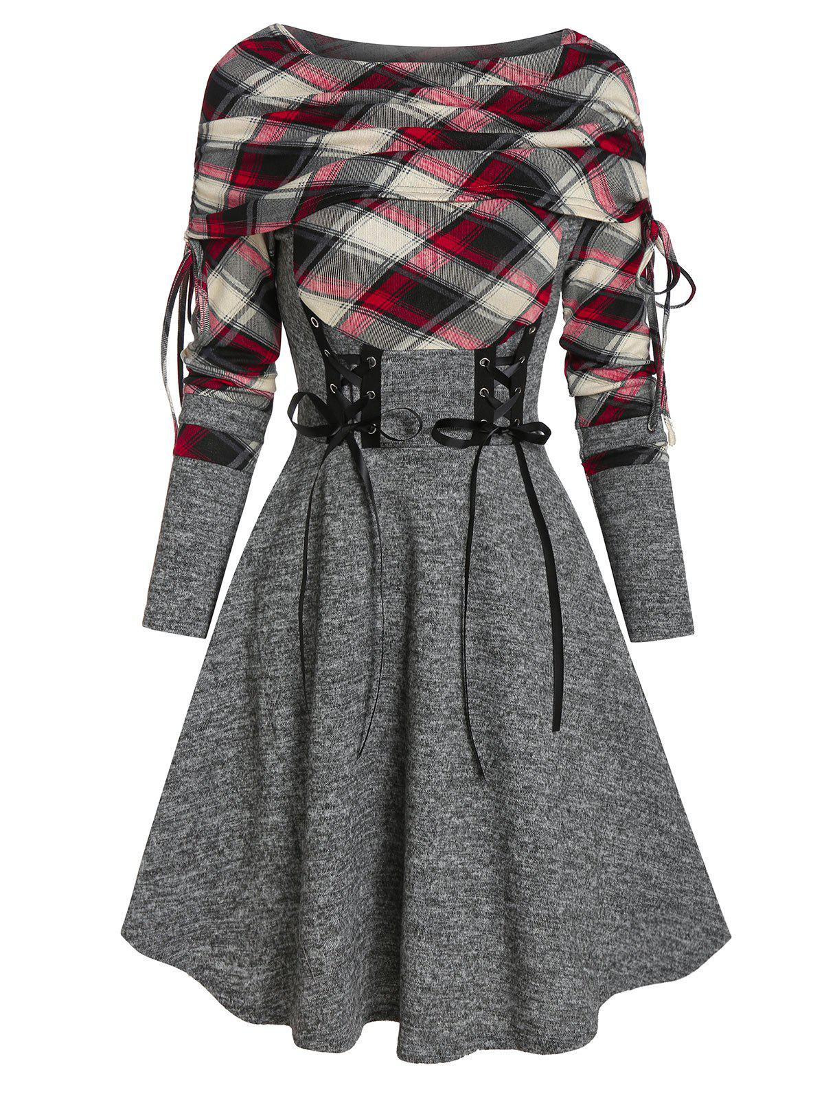 Discount Plaid Print Lace-up Fold Over Sweater Dress