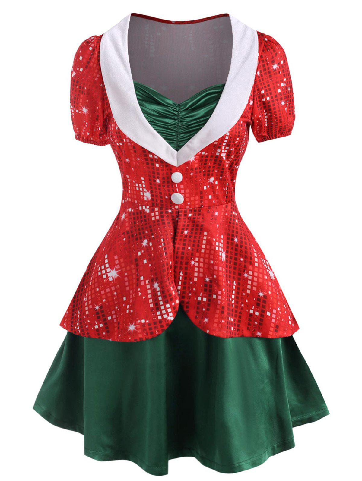Hot Christmas 3D Rhinestone Print Ruched Button Embellished Twofer Dress