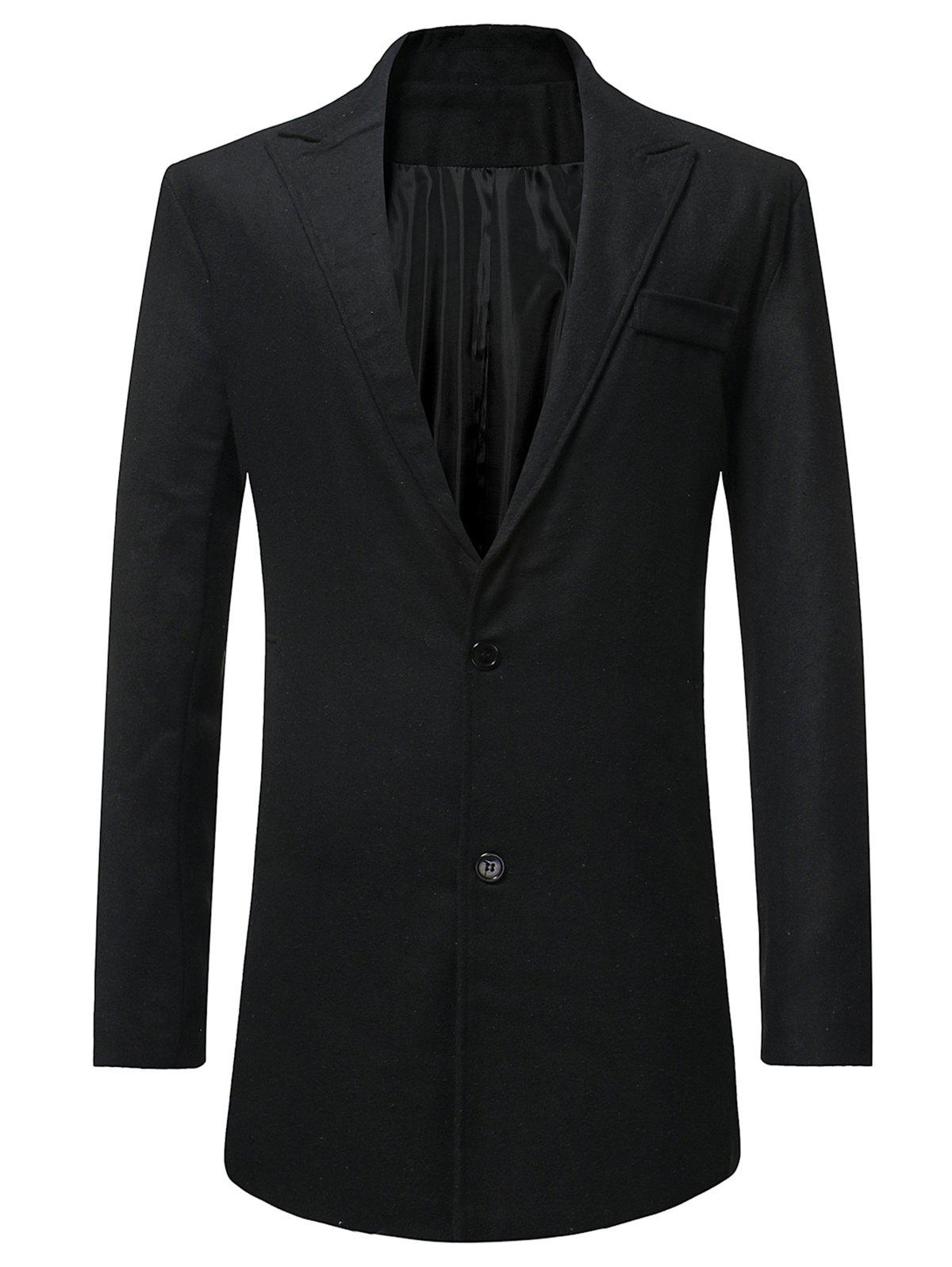 Sale Lapel Button Up Faux Pocket Wool Blend Coat