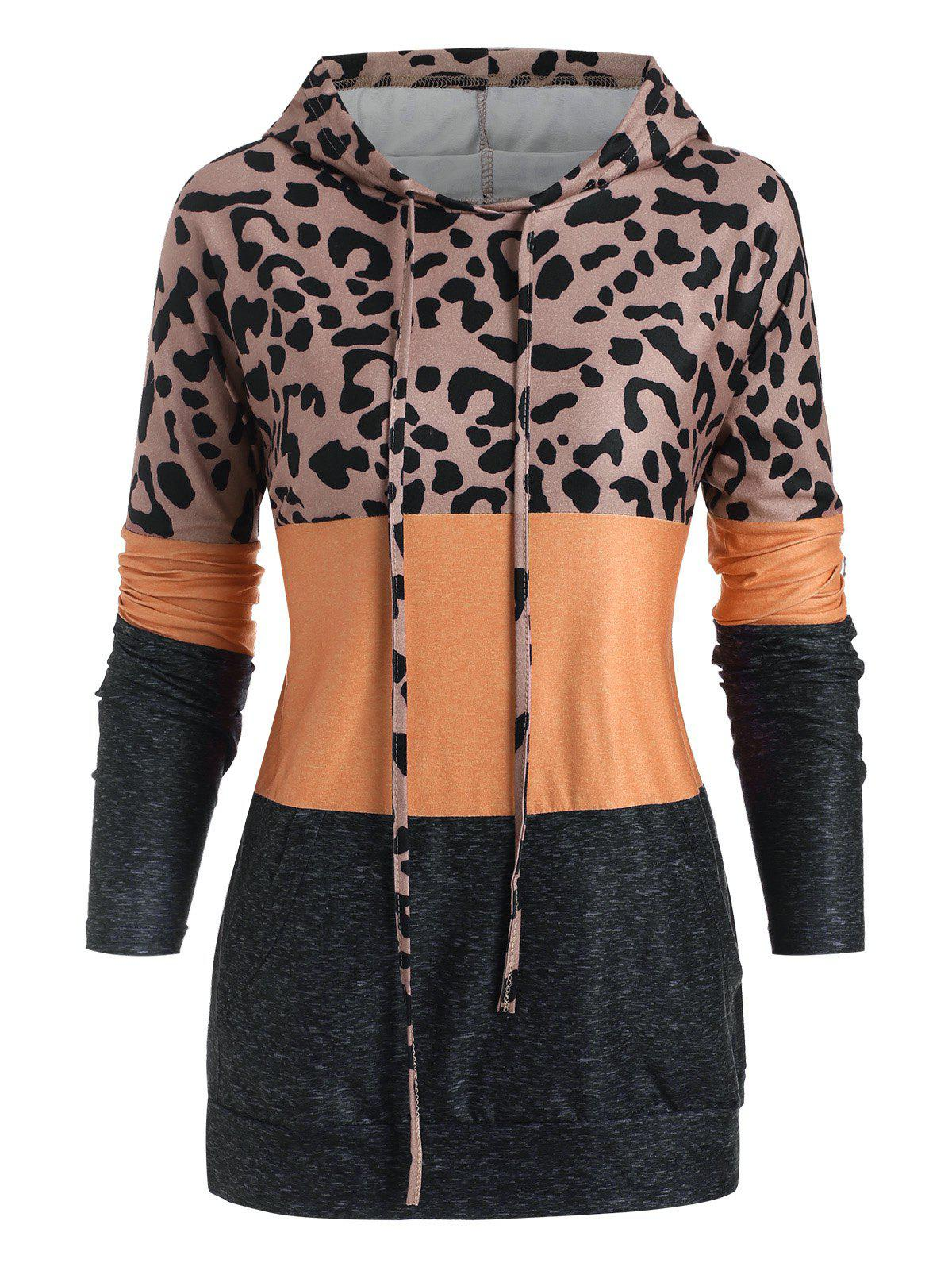 Chic Leopard Colorblock Front Pocket Hoodie
