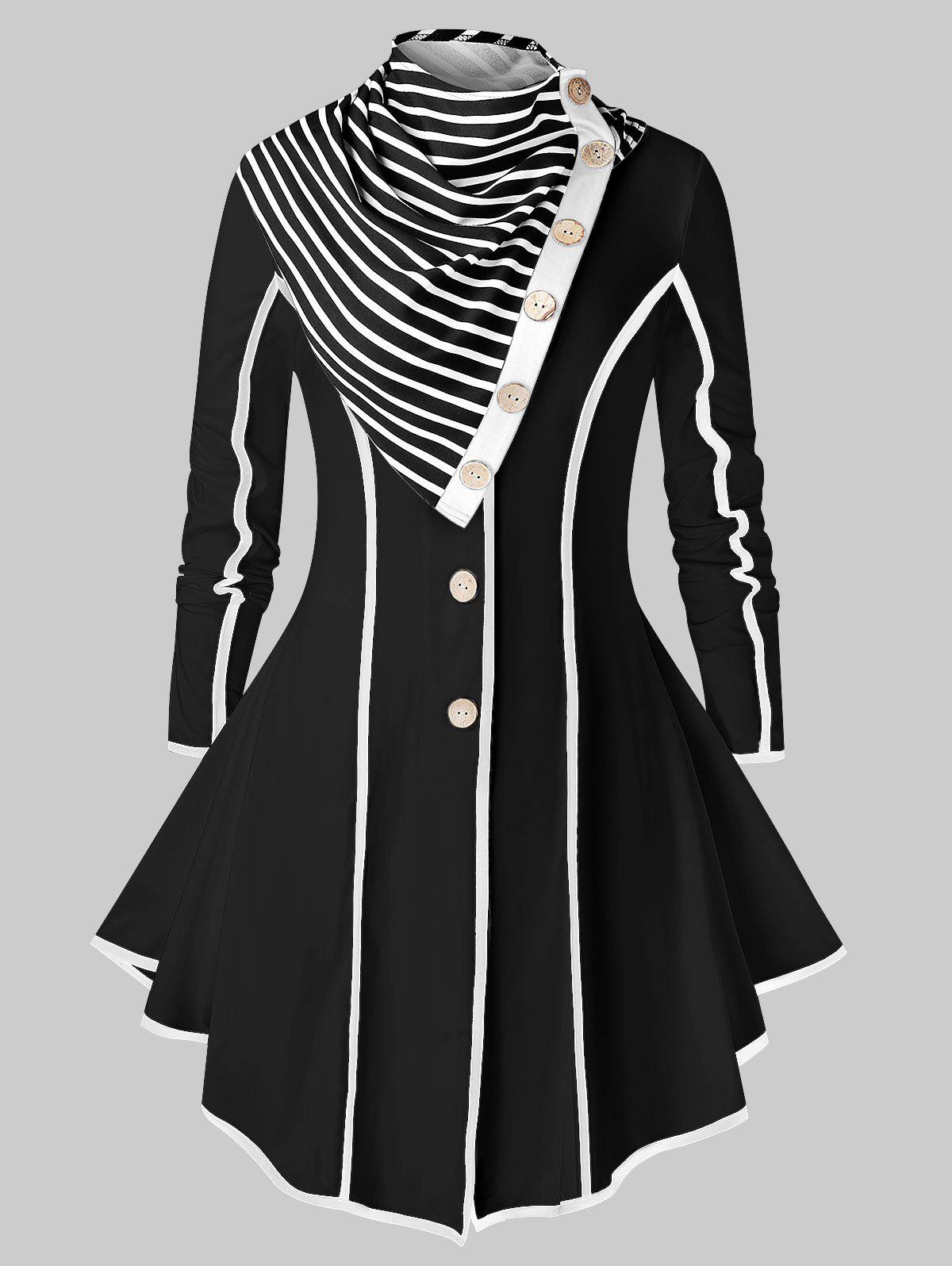 Store Plus Size Stripe Trim Skirted Coat With Scarf