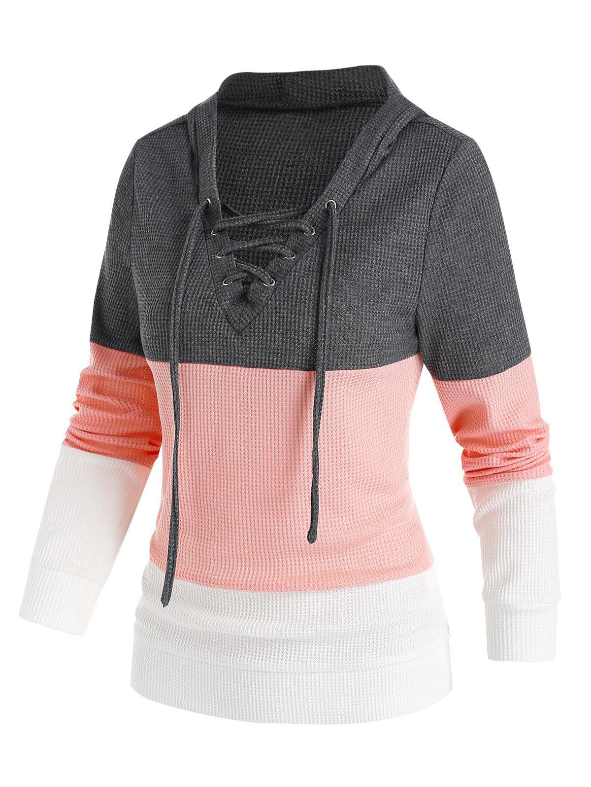 Chic Lace Up Colorblock Casual Hoodie