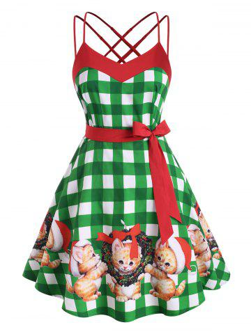 Criss Cross Strappy Plaid Christmas Cat Plus Size Dress - GREEN - 1X