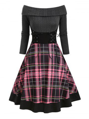 Plaid Foldover Off Shoulder Lace Up Dress