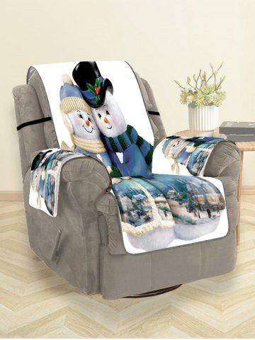 Christmas Snowman Couple Print Couch Cover - SILK BLUE - 180*160CM