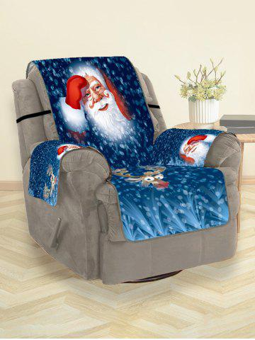 Santa Claus Elk Christmas Printing Couch Cover - BLUEBERRY BLUE - 180*160CM