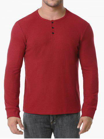 Long Sleeve Ribbed Henley T-shirt - RED WINE - XXL