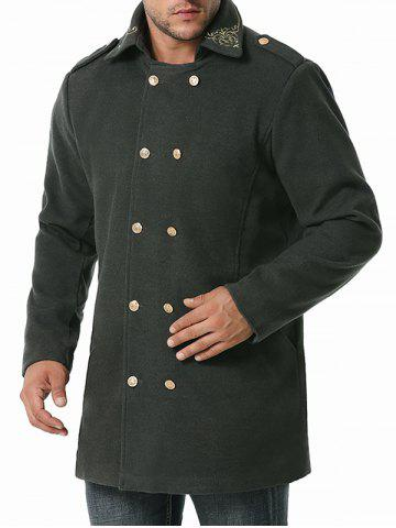 Double Breasted Flower Embroidered Wool Blend Coat - GRAY - XXL