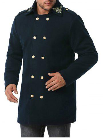 Double Breasted Flower Embroidered Wool Blend Coat - CADETBLUE - XXL