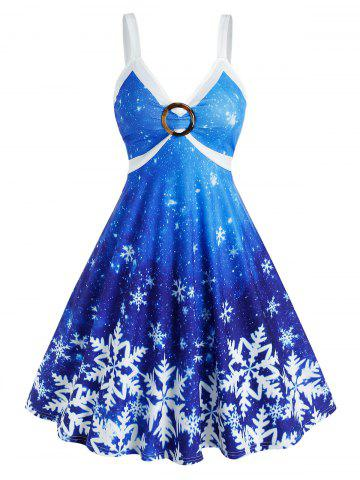 Snowflake Print Ombre Color O Ring Christmas Dress