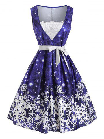 Christmas Snowflake Lace Panel Belted Dress