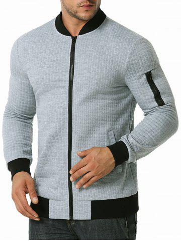 Plaid Emboss Zipper Pocket Jacket - LIGHT GRAY - XXXL