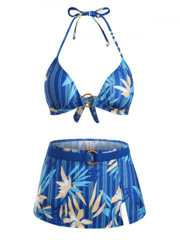 Flower Striped O Ring Tie Side Three Piece Bikini Swimwear