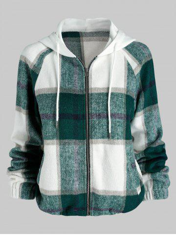 Plaid Pattern Hooded Wool Blend Jacket