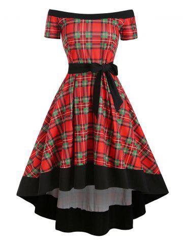 Plaid Off Shoulder Dip Hem Belted Dress