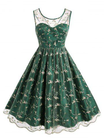 Plus Size Vintage Embroidered Mesh Fit and Flare Dress - DEEP GREEN - 1X