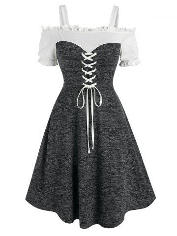 Open Shoulder Lace Up Heathered Dress