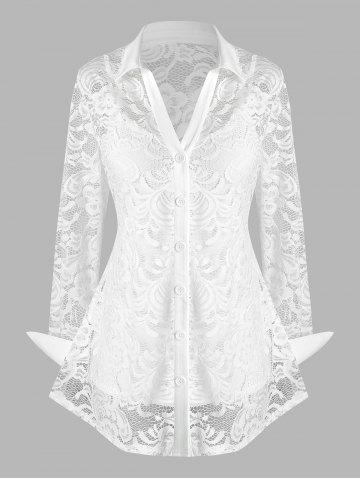 Plus Size Lace Flower Sheer Blouse with Cami Top Set - WHITE - L