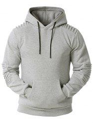 Kangaroo Pocket Pintuck Detail Fleece Hoodie -