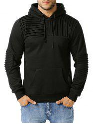Elbow Patch Pintuck Detail Fleece Hoodie -