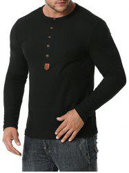 Jacquard Button Round Collar Long Sleeve T-shirt -