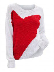 Plus Size Heart Pattern Drop Shoulder Sweater -