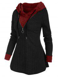 Colorblock Zip Embellished Hooded Sweater -
