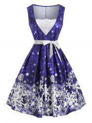 Christmas Snowflake Lace Panel Belted Dress -