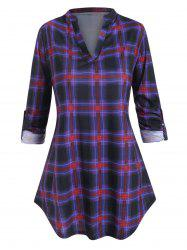 Plus Size V Neck Plaid Roll Up Sleeve Curved T Shirt -