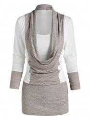 Contrast Draped Faux Twinset T-shirt -