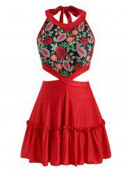 Plus Size Plant Print Waist Cutout Tiered Skirted Tankini Swimwear -