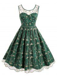 Plus Size Vintage Embroidered Mesh Fit and Flare Dress -