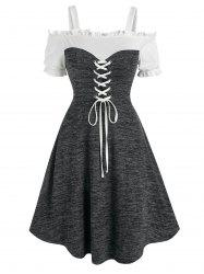 Open Shoulder Lace Up Heathered Dress -